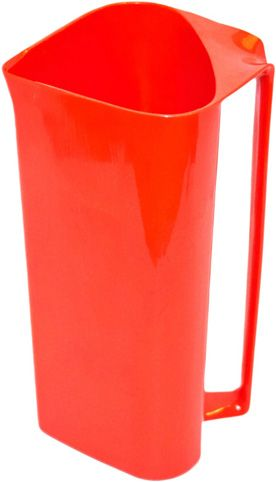 "This red plastic pitcher is called ""Sinjet"" and was designed by Sigvard Bernadotte for Husqvarna.  An industrial designer, Bernadotte was known for designing everything from luxurious silver objects for Georg Jensen to everyday-use household items in plastic."