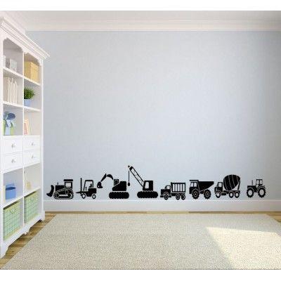 BOYS CONSTRUCTION TIP TRUCK TRACTOR DIGGER BULLDOZER CRANE WALL DECAL