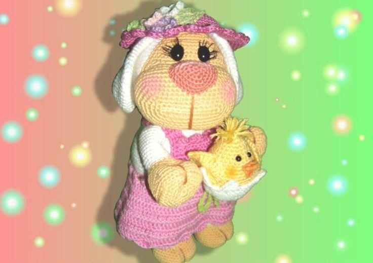Osterschäfchen Dolly & Kükchen im Ei      *Diese Anleitung beinhaltet die Beschreibung des kompletten Schäfchens mit Kleid und Blümchenhut sowie Kü...