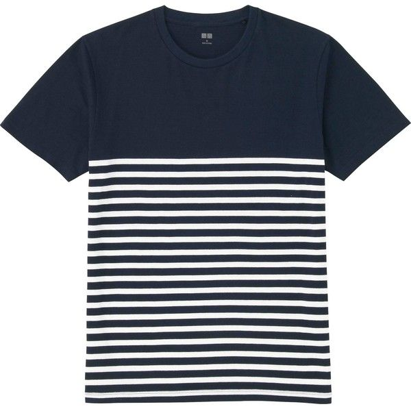 UNIQLO Washed Striped Short Sleeve T-Shirt ($13) ❤ liked on Polyvore featuring men's fashion, men's clothing, men's shirts, men's t-shirts, men, mens shirts, shirts, tops, mens t shirts and mens double layer t shirt