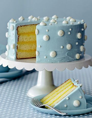 Lemon Cake gets a fun twist with blue-tinted buttercream frosting and polka dots.Lemon Cake, Cake Recipe, Decor Ideas, Polka Dots, Cake Decor, Dots Cake, Blue Cake, Wedding Cake, Homemade Cake