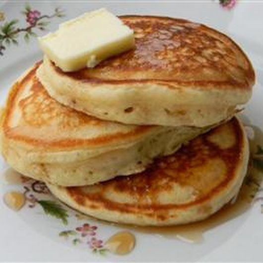 Fluffly and light old-fashioned pancakes from scratch used 1/2 buttermilk-1/2 milk and separated the yolk from white-beat the whites and folded in