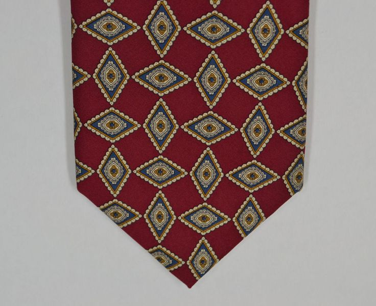 JOS. A. BANK Collection 100% Silk Red w/ Blue and White Geometric Print Necktie #JosABank #NeckTie