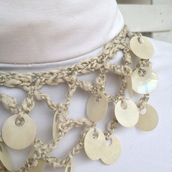 "Crochet Necklace ""Little Mermaid"", spring, summer fashion"