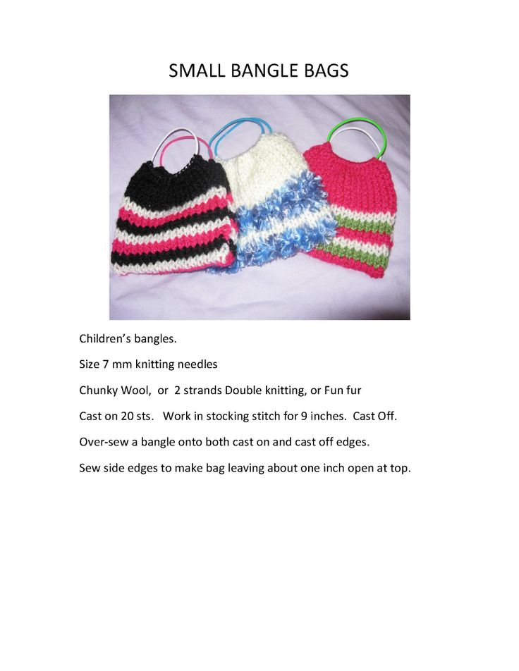 Pattern for Knitting Bangle Bags