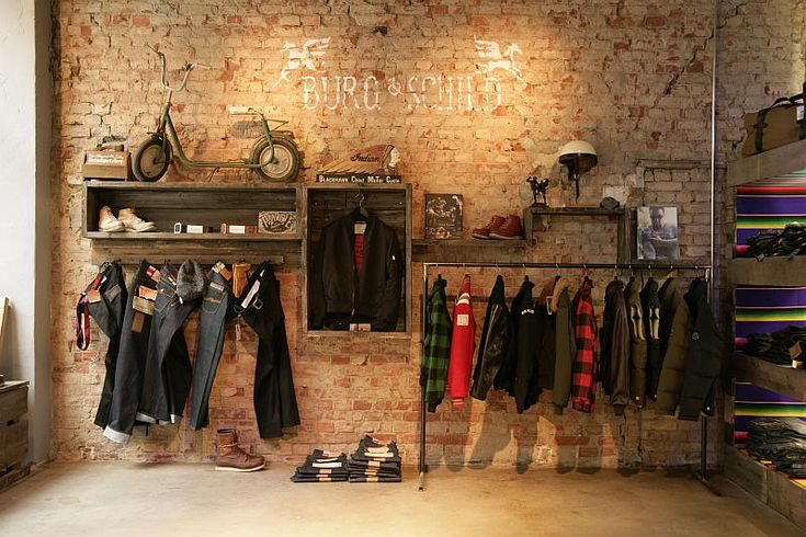 storeExposed Bricks, Men Retail, Bricks Wall, Stores Design, Boxes, Clothing Stores, Wood Crates, Expo Bricks, Wall Design