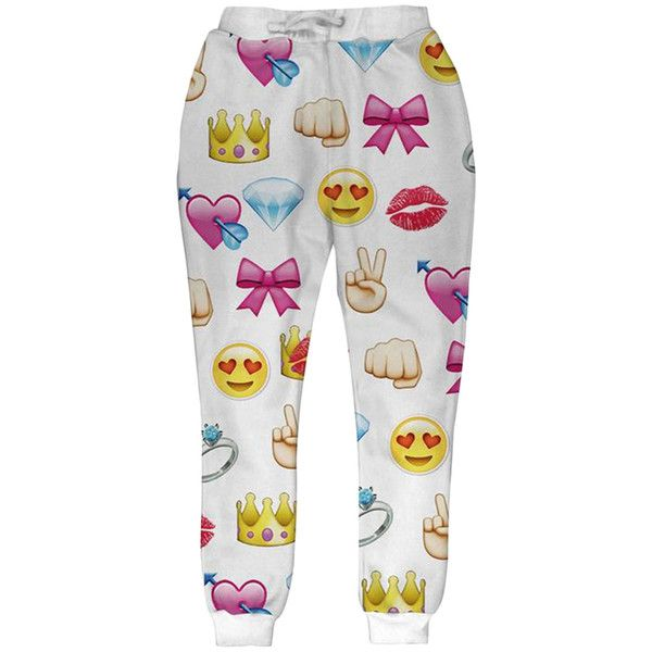 White Womens Cute Emoji Printed Fashion Leisure Pants ($25) ❤ liked on Polyvore featuring pants, bottoms, white, white trousers and white pants
