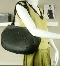 Model : E Aigner hobo Material : Black snake skin with leather  Hardware : Gold  Condition : Very good Size : L 19 x H 11 x W 6 inches