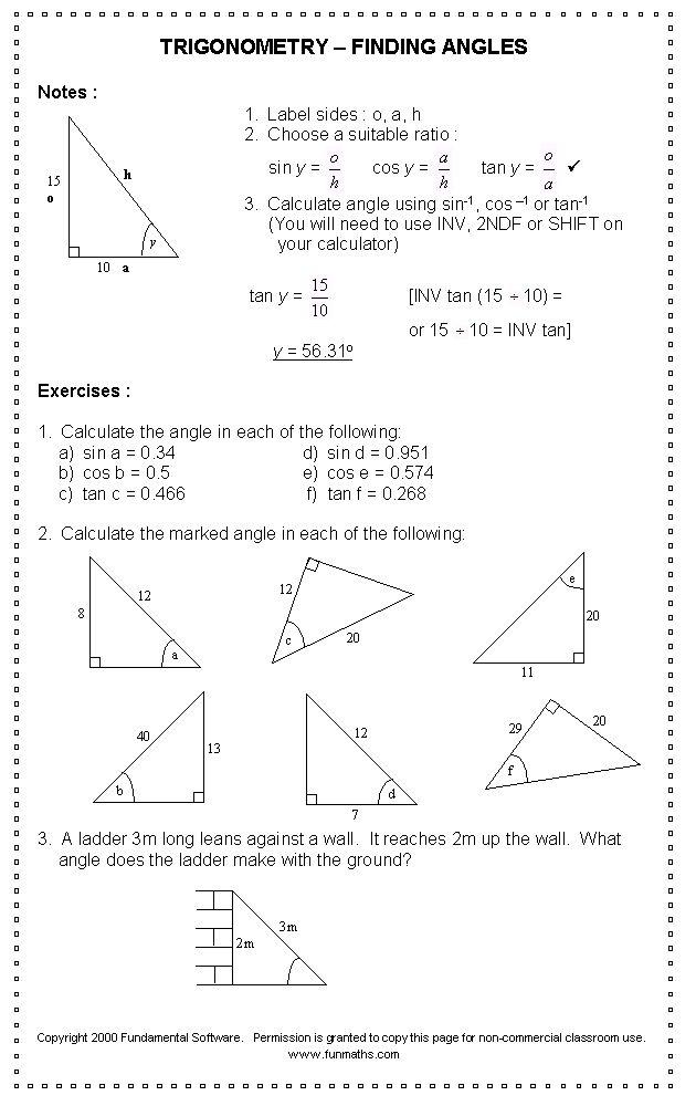 Free high school math worksheet from Funmaths com | Teaching Math