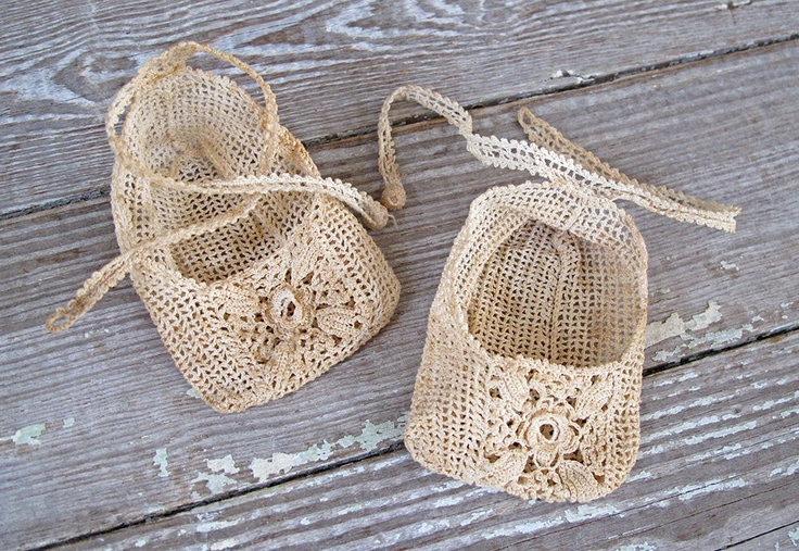Vintage baby booties *sigh* love! <3  These were made by KatyBitsandPieces @ Etsy.