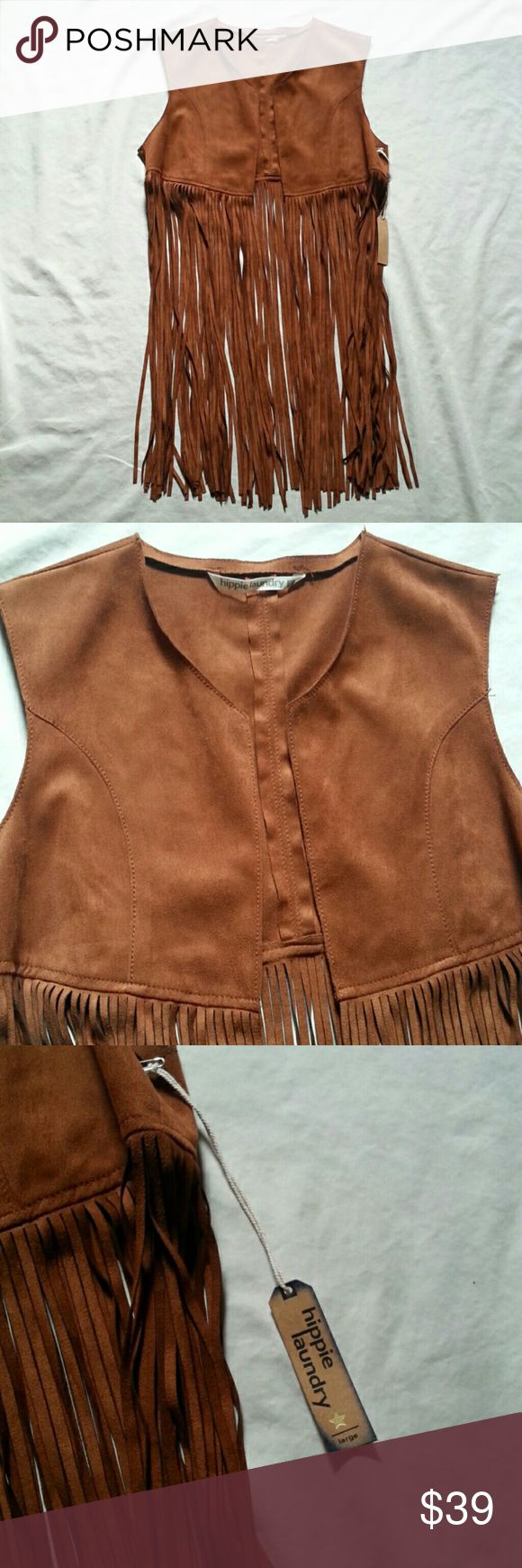 Hippie Laundry Suede Fringe Vest New with tags! Never worn. Hippie Laundry Jackets & Coats Vests