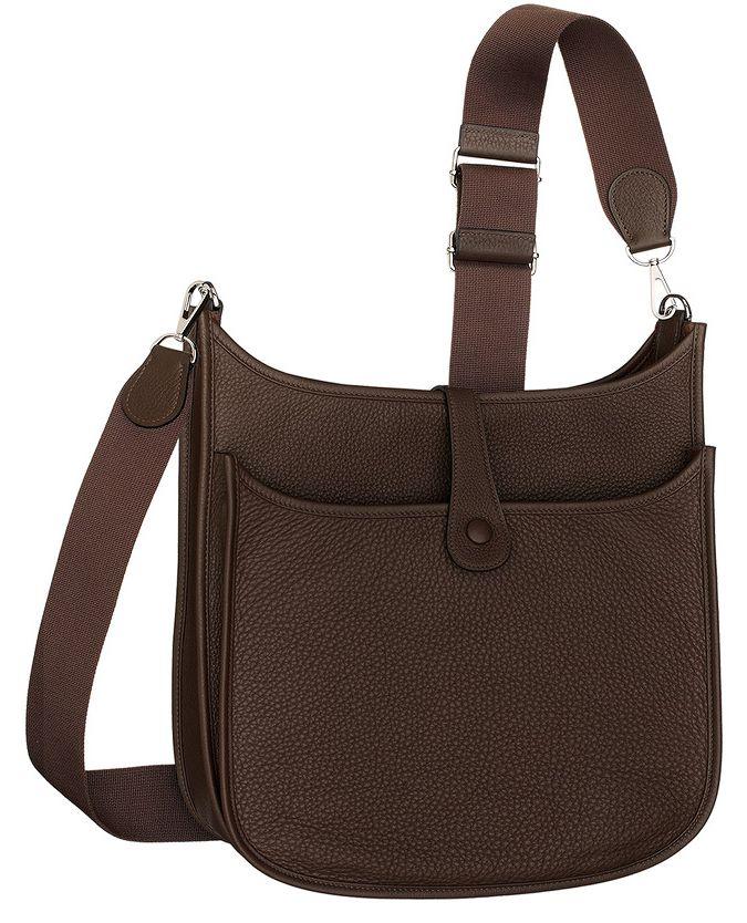 Hermes - Evelyne III, cross body bag in tan brown leather. Side ...
