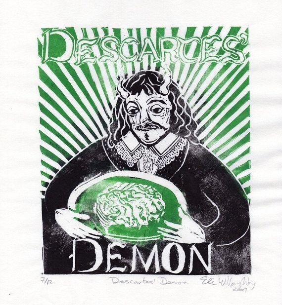 Descartes Demon Linocut - Imaginary Friends of Science Collection - René Descartes Daemon with Brain in Vat Philosophy History Science Print by minouette now at http://ift.tt/1MVOoEx