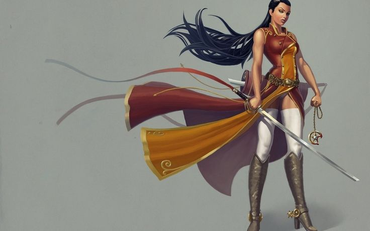Воин, девушка, посмотрите, длинные волосы, костюм, оружие, меч, шипы, сапоги, арт, фантазия