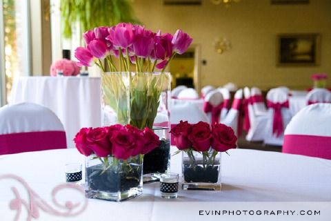 Hot pink wedding- love these centerpieces for an all pink party