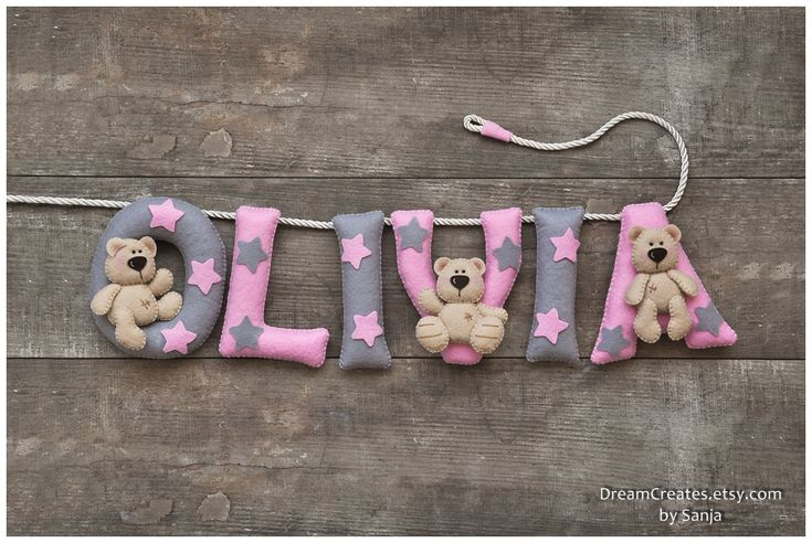 Pink Grey Teddy Bear personalised felt name banner, made of different coloured felt. A lovely nursery decor for a new babys room and a perfect addition to your nursery.  * * * * * * * * * * Height of the letters: ≈12 cm (4,8 inch).  ONE LETTER PRICE IS $ 10.00. HOW TO ORDER If you want to buy this name banner, please select an option How many letters? below the title and $10+ price. For example, if your name is John, select the option 4 letters/symbols, and you will get your price. Then...