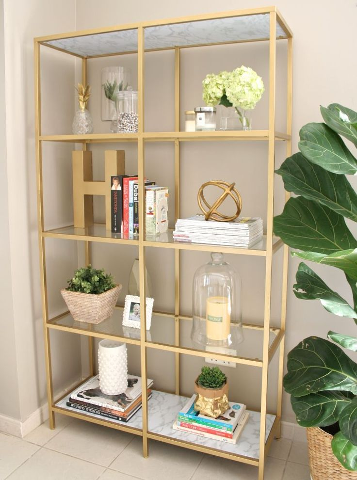 DIY Gold Bookshelf, Gold Marble Bookshelf, Bookshelf Decor, Women Bookshelf, Decorating Book Shelf