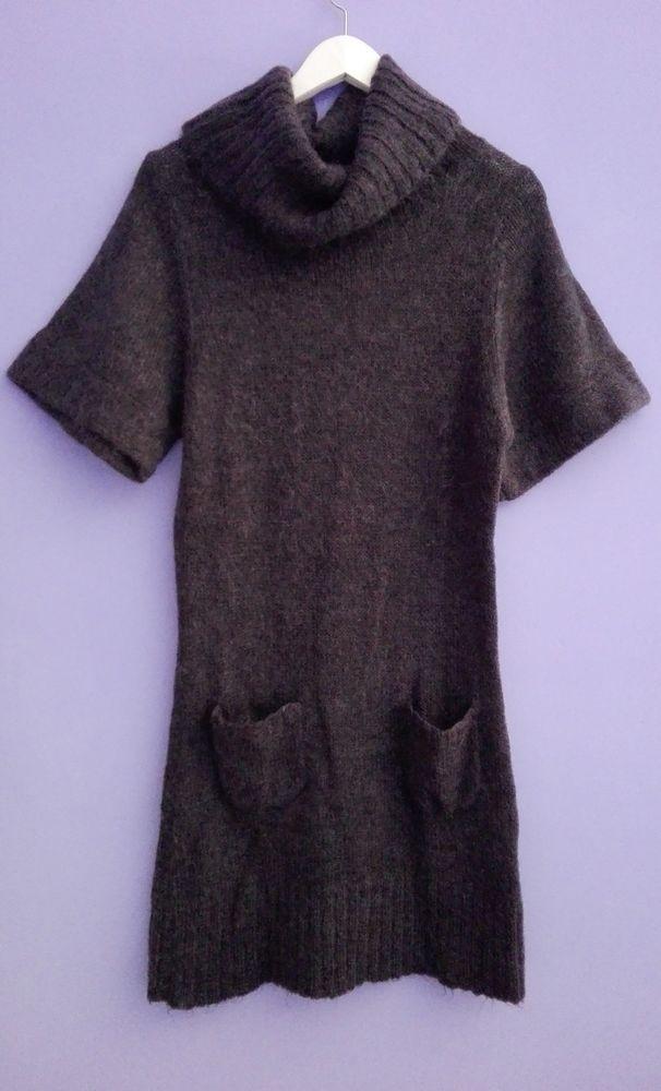 Vestito abito GRIGIO maglione lungo manica corta collo largo tasche robe dress