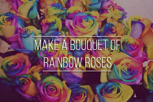 57. Bucket list item - Make a bouquet of rainbow roses. Did you know that according to the tradition flowers should be given with the left hand? #bouquet