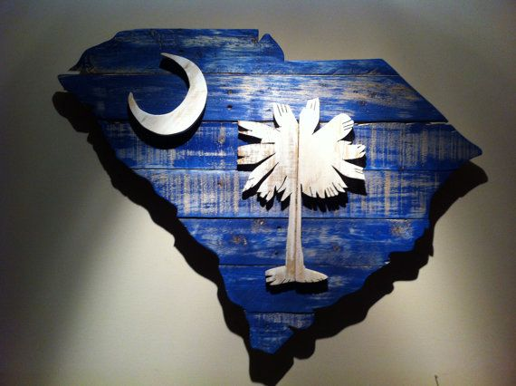 Wooden State of South Carolina with Palmetto Tree