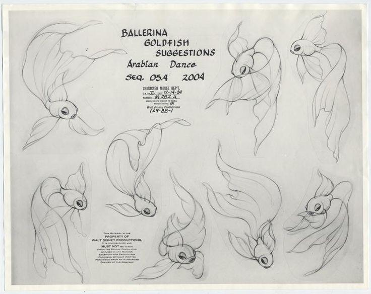 2 Disney FANTASIA Animation Model Sheets GOLDFISH BALLERINA for Arabian Dance of Nutcracker, 1940s