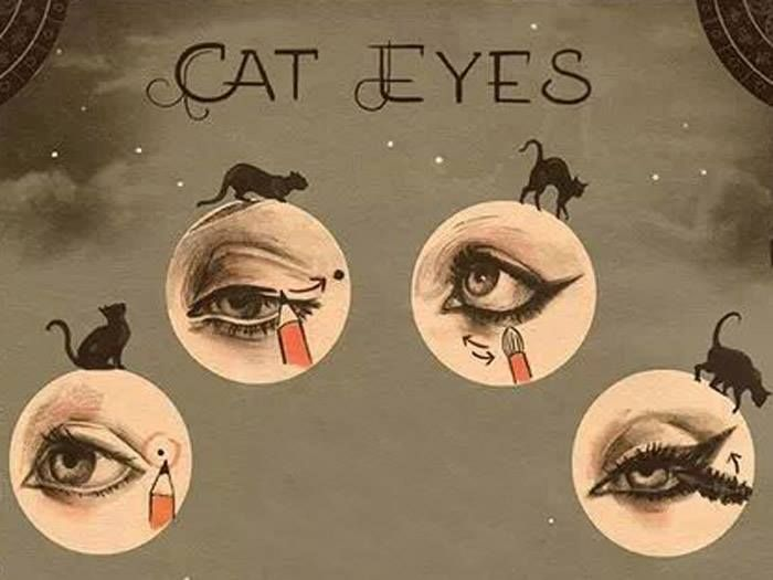 1930s cat eyes how to.  A clever technique of placing a dot at the corner of each eye to even out the wing.