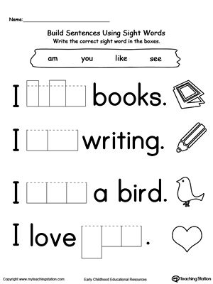 **FREE** Build Sentences Using Sight Words: LIKE, AM, SEE, and YOU Worksheet. Practice identifying and writing sight words (LIKE, AM, SEE, and YOU) in a sentence with this printable worksheet.