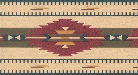Wallpaper Border Southwest Indian Rug Blue