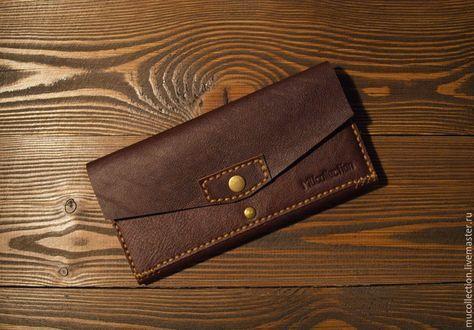 Купить Женский кошелек в цвете BrownSugar/// - коричневый, однотонный, натуральная кожа, 8 марта