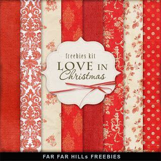 Freebies Kit of  Background - Love in Christmas