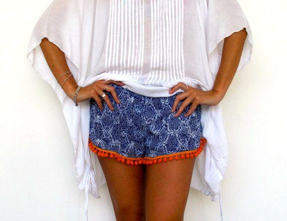 >><< Pom Pom Shorts, Cobalt Blue Snake Print with Bright Orange or White Cotton Pom Pom's - 70's inspired gym shorts
