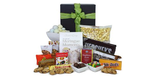 Absolutely backed with lollies, cookies, chocolates, meringues, truffles and other snacks, this Large Gourmet Lolly Gift Basket is perfect for anyone with a sweet tooth!  #christmasgifts #giftbaskets