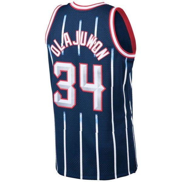 260587672 Mitchell   Ness Men s Hakeem Olajuwon Houston Rockets Hardwood Classic...  ( 130) ❤ liked on Polyvore featuring men s fashion