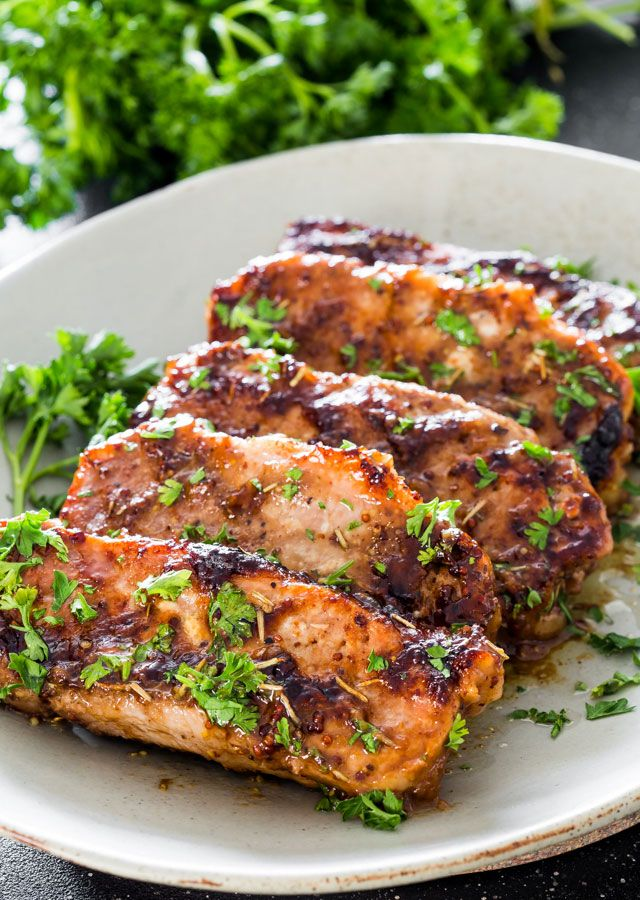 Mustard Balsamic Pork Chops with Rosemary - 5 minute prep time! These pork chops couldn't get any easier, they're so delicious and tender, they simply melt in your mouth!