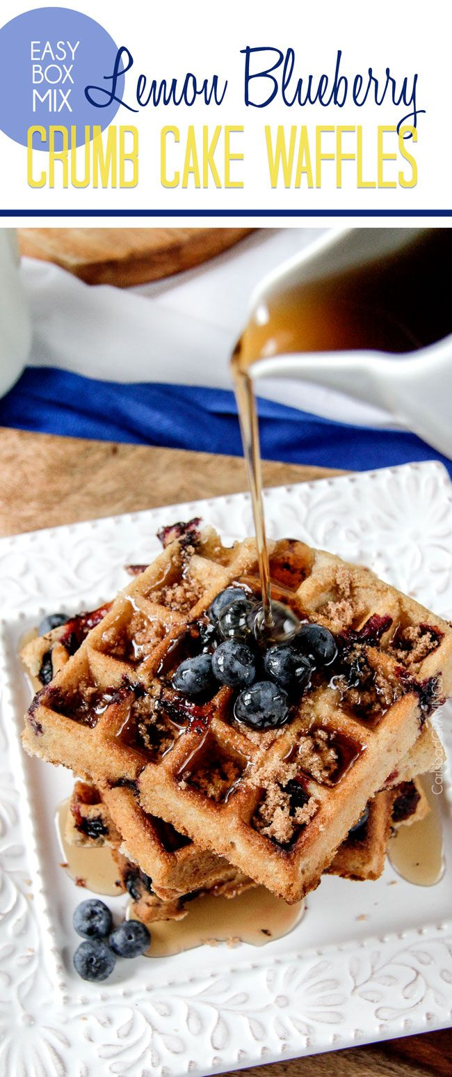 Easy Box Mix Lemon Blueberry Crumb Cake Waffles | http://www.carlsbadcravings.com/easy-box-mix-lemon-blueberry-crumb-cake-waffles-reccipe/