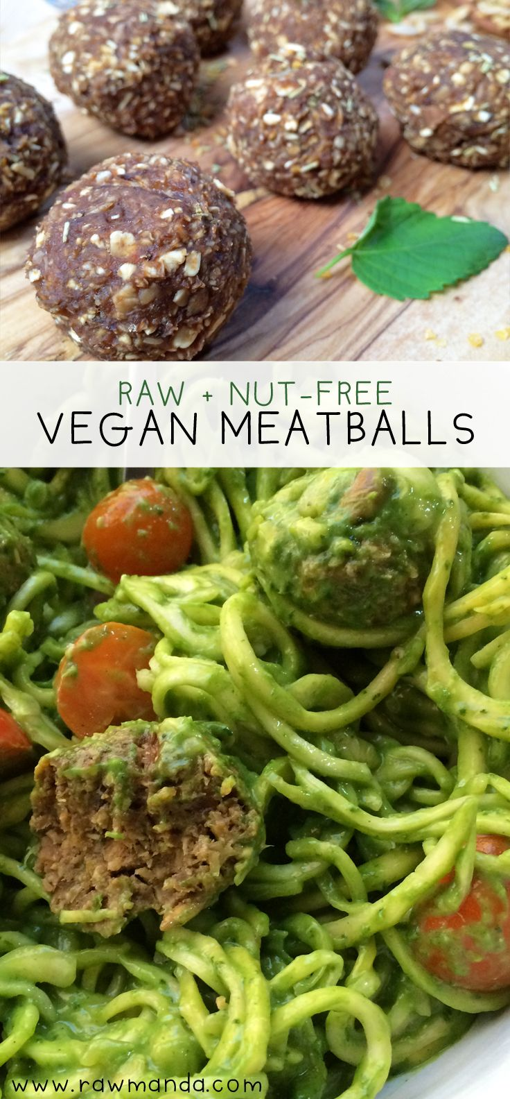 Vegan Mushroom Meatballs + Creamy Avocado Sauce - This delicious meatball recipe is packed with amazing flavors. It's the perfect meat-free substitute paired with a mouth-watering creamy avocado sauce! @rawmanda