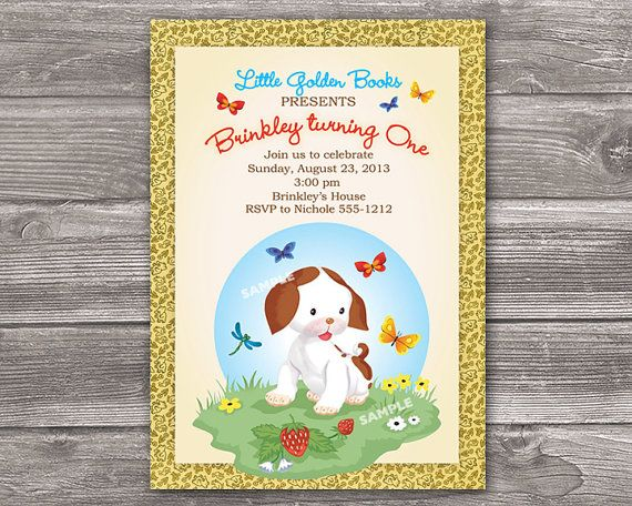 The Poky Little Puppy Invitation for Birthday Party or Baby Shower - Little Golden Book Invite - Printable Digital File