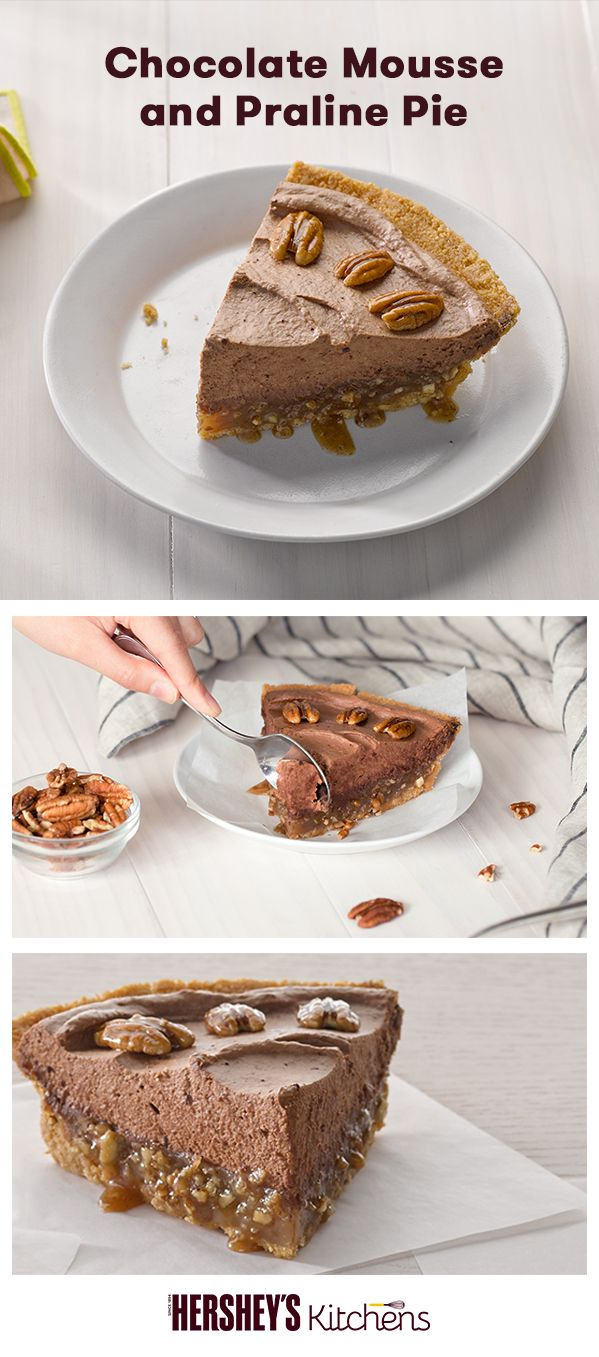 This holiday season the family will swoon over this Chocolate Mousse and Praline Pie. Made with HERSHEY'S Cocoa and fluffy mousse to add a little something special to the classic praline pie. Try this rich dessert for Thanksgiving, Friendsgiving, or Christmas.