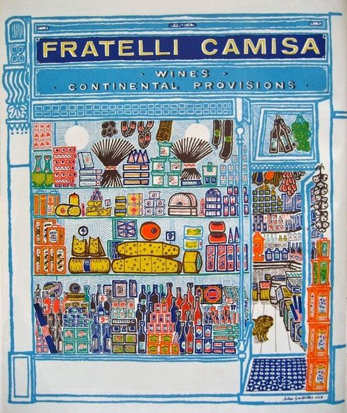 """John Griffiths' shopfront pictures for Motif, a series of journals published and printed by James Shand for Shenval Press: """"Fratelli Camisa"""""""