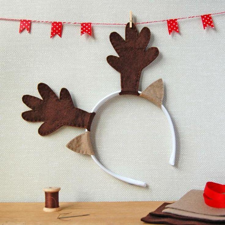 serre-tête original en forme de renne du père Noël composé de deux oreilles et bois de renne en feutre marron et beige