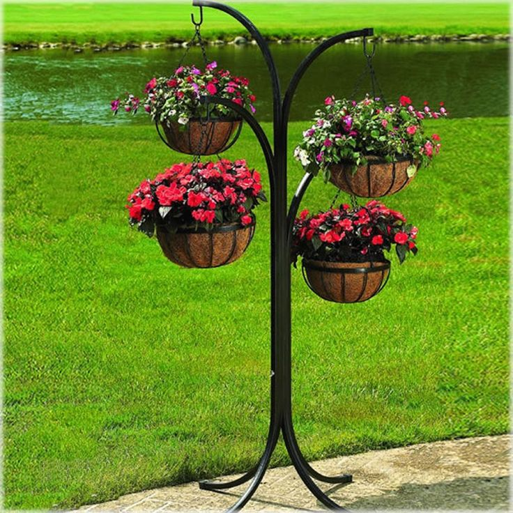 New hanging basket planter wrought iron free standing lawn ordainment display wrought iron and - Fabulous flower stand ideas to display your plants look more beautiful ...