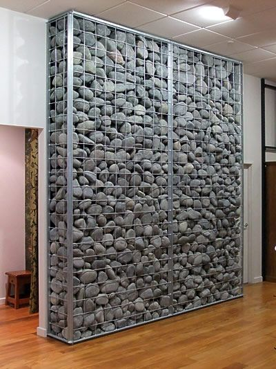 gabion cages - good for interior thermal mass