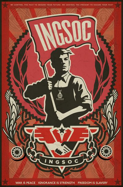 INGSOC propaganda. Inspire by 1984 book, by George Orwell. Soviet like poster.: