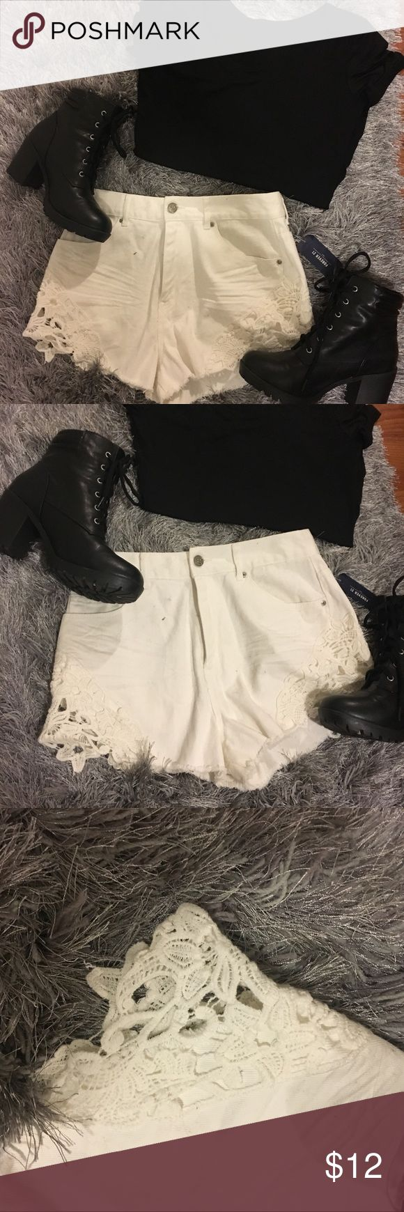 NEW White Lace Jean Shorts Brand new with tags. So cute! Tight fit on the waist (true to 26) and a baggy cutoff look. White lace trim on the bottoms. Jean material. Forever 21 Shorts