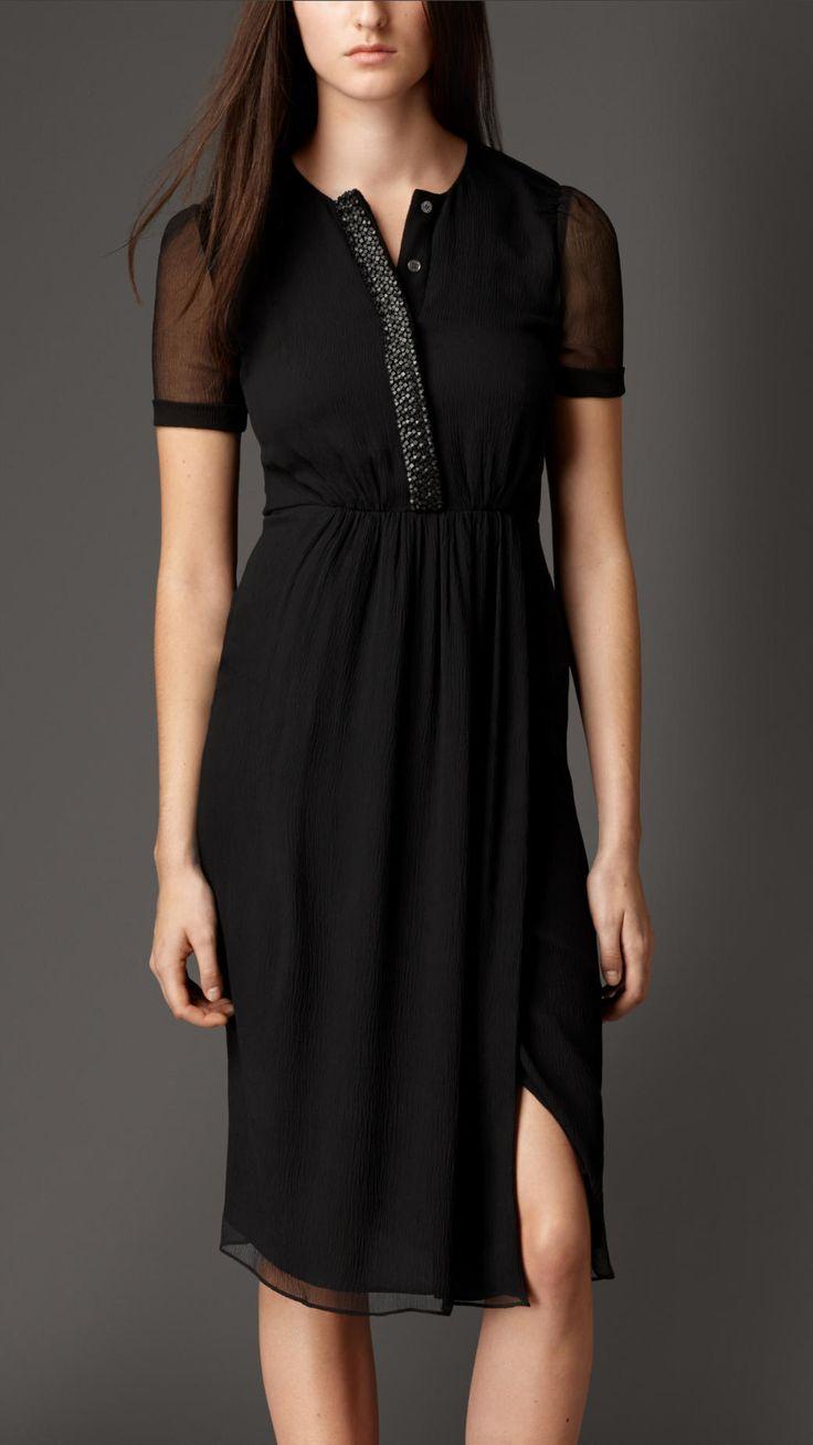 Embellished Placket Silk Crépon Dress | Burberry
