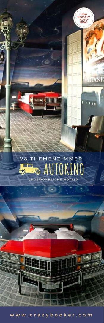 V8 Hotel Motorworld #Stuttgart (Böblingen) | Themenzimmer Autokino | Übernachtung für Cineasten und Autofans | #Hotelzimmer mit Kino-Dekoration | Nur wenige freie Termine | Für noch mehr ungewöhnliche Auto-Themenzimmer jetzt klicken!