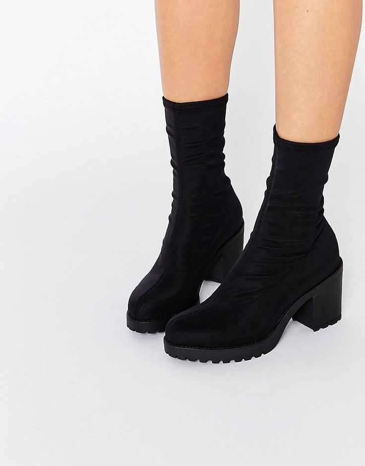 Vagabond | Vagabond Grace Black Chunky Sock Boots at ASOS