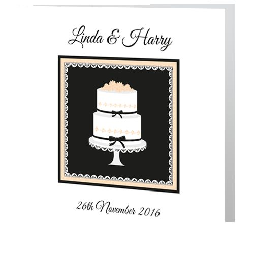 Wedding Day Invite - Cake with Ribbon. Unique, affordable invitations. Design online easily. Reasonable price. Set the tone & expectations for your wedding-day-invite-Cake-with-Ribbon. Printed in ireland. Free Envelopes & Free Delivery Ireland.