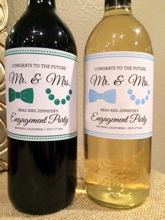 Celebrate the engagement of the soon to be Mr. & Mrs. with this unique and sentimental gift! This custom made label is a great present to bring to an engagement party and to congratulate the happy couple with! Great for placing on wine bottles, boxes, candles, party pitchers and more!