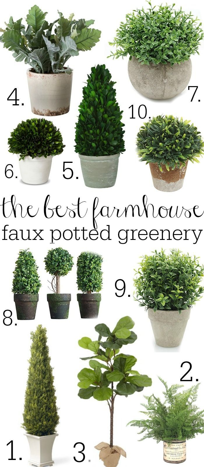 The Best farmhouse faux potted greenery - A great source for faux potted plants! A must pin!
